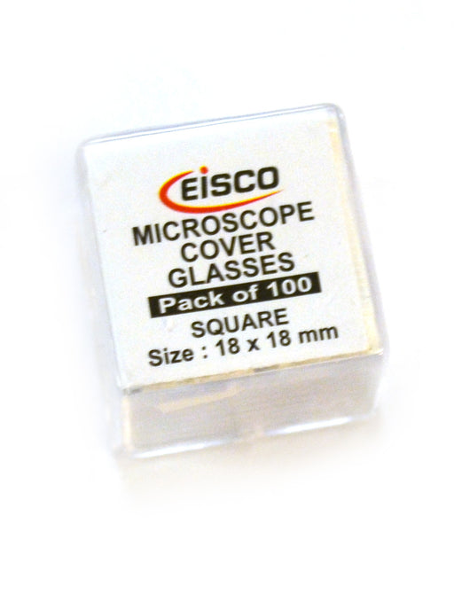 Slide Cover Slips, 100 pack - Square - Microscope Glass Covers, 18 x 18 mm - Eisco Labs