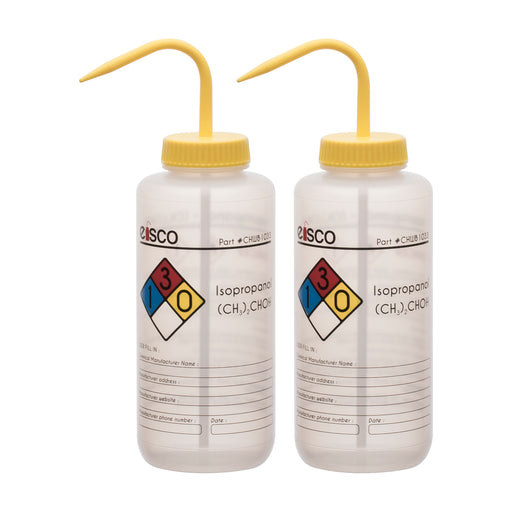2PK Performance Plastic Wash Bottle, Isopropanol, 1000 ml - Labeled (4 Color)