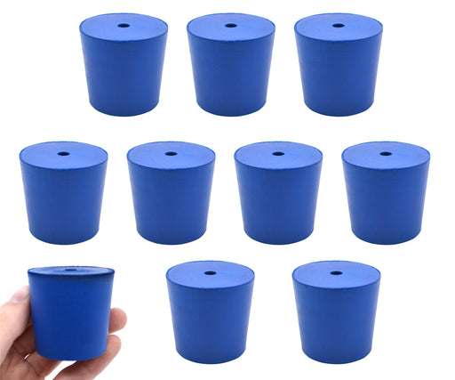 Neoprene Stoppers, 1 Hole - Blue - Size: 38mm Bottom, 42mm Top, 40mm Length - Pack of 10