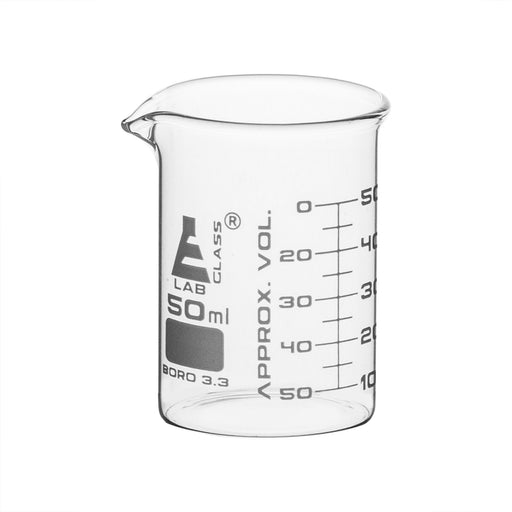 Beaker, 50ml - ASTM - Graduated - Low Form, Borosilicate Glass - Eisco Labs