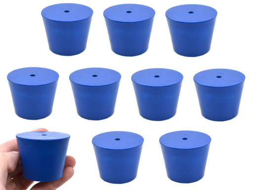 Neoprene Stoppers, 1 Hole - Blue - Size: 35mm Bottom, 45mm Top, 36mm Length - Pack of 10