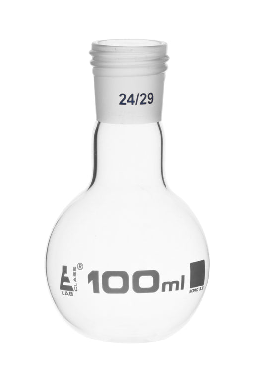 Boiling Flask with 14/29 Joint, 100ml Capacity, Flat Bottom, Interchangeable Screw Thread Joint, Borosilicate Glass - Eisco Labs