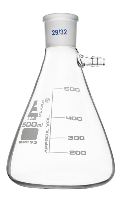 Buchner Filter Flask, 500ml - 29/32 Socket Size Joint - Side Arm - Borosilicate 3.3 Glass - Eisco Labs