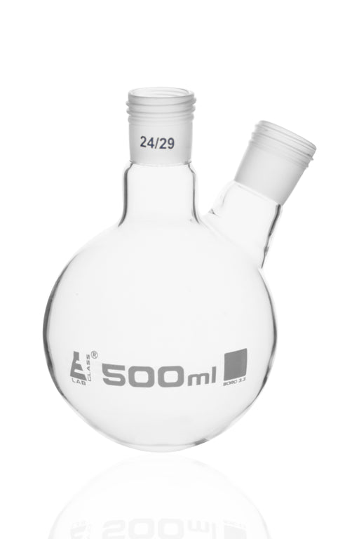 Distillation Flask with 2 Necks, 500ml - 24/29 Joint Size - Round Bottom, Interchangeable Screw Thread Joints - Borosilicate Glass - Eisco Labs