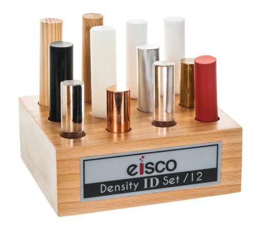 12pc Cylindrical Bars Density ID Set - Includes Hardwood, Softwood, Aluminum, Copper, Brass, Rubber, Nylon, Derlin, PVC, Glass, Acrylic & Teflon