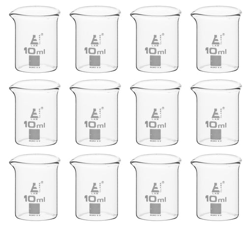 12PK Beakers, 10ml - Low Form - Ungraduated - Borosilicate Glass