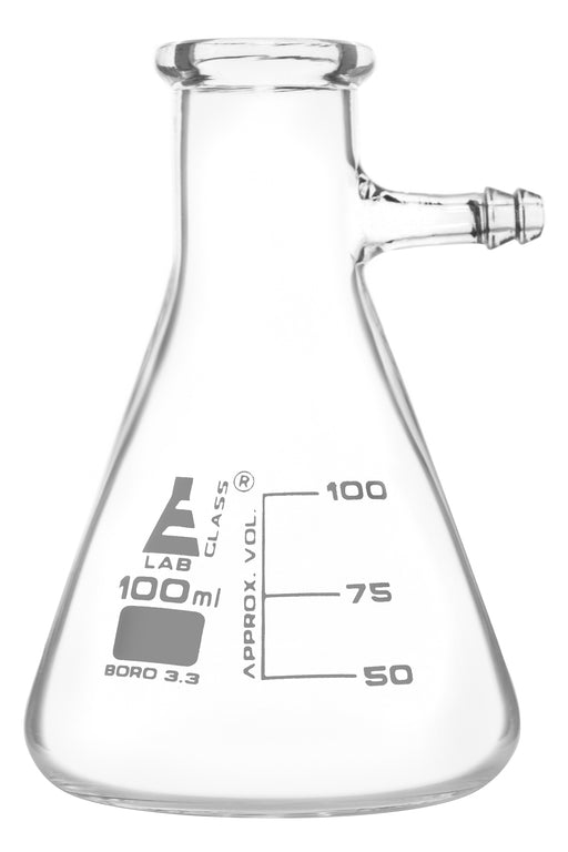 Filtering Flask, 100ml - Integral Side Arm - White Graduations - Borosilicate Glass - Eisco Labs
