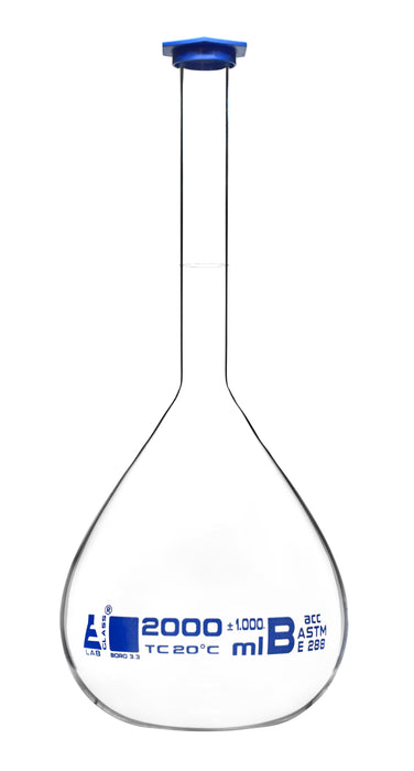 Volumetric Flask, 2000ml - ASTM, Class B Tolerance ±0.1000 ml - Blue Snap Cap - Single, White Graduation, Blue Printed Specifications - Borosilicate 3.3 Glass - Eisco Labs
