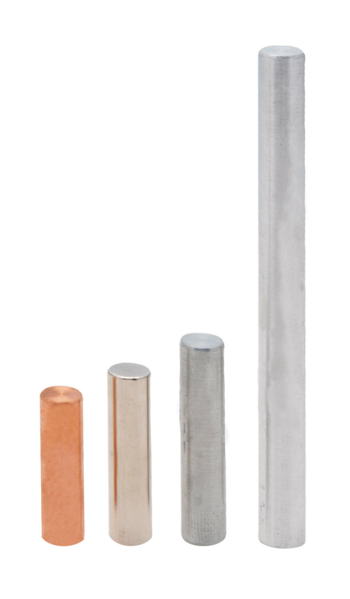 4pc Equal Mass Metal Cylinders Set - Copper, Iron, Aluminum & Zinc