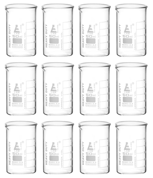12PK Heavy Duty Beakers, 50ml - 5mm Thick, Uniform Walls - Superior Durability & Chemical Resistance - White Graduations - Borosilicate 3.3 Glass - Eisco Labs
