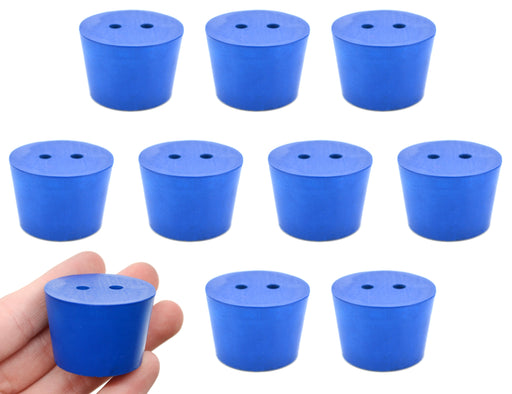 10PK Neoprene Stoppers, 2 Holes - ASTM - Size #7 - 30mm Bottom, 37mm Top, 25mm Length