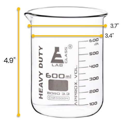 Heavy Duty Beaker, 600ml - 5mm Thick, Uniform Walls - Superior Durability & Chemical Resistance - White Graduations - Borosilicate 3.3 Glass - Eisco Labs