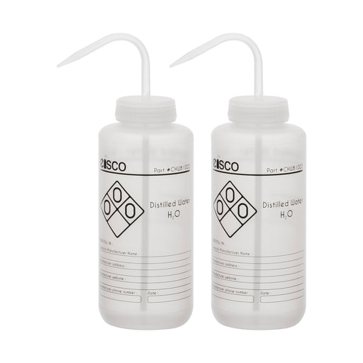 2PK Performance Plastic Wash Bottle, Distilled Water, 1000 ml - Labeled (1 Color)