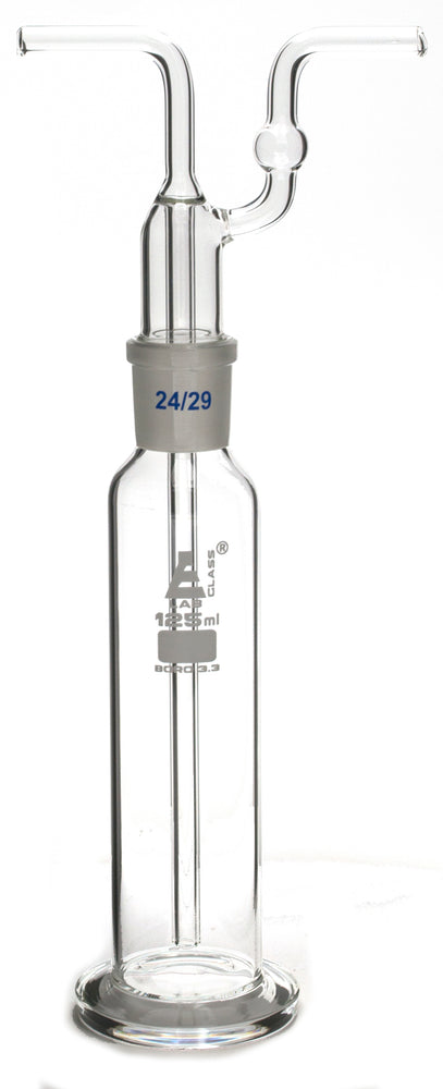 125mL Drecshel's Bottle for Gas Washing, Interchangeable Joint Head 24/29, Borosilicate 3.3 Glass - Eisco Labs
