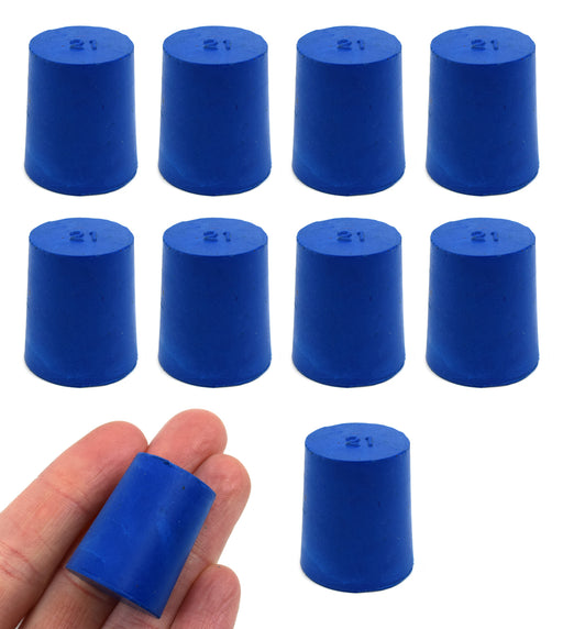 Neoprene Stoppers, Solid Blue - Size: 21mm Bottom, 24mm Top, 28mm Length - Pack of 10