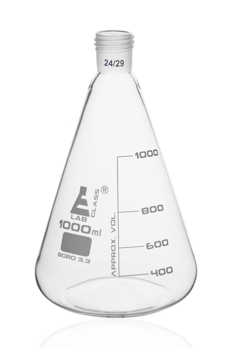 Erlenmeyer Flask with 24/29 Joint, 1000ml - 200ml White Graduations - Interchangeable Screw Thread Joint - Borosilicate Glass - Eisco Labs