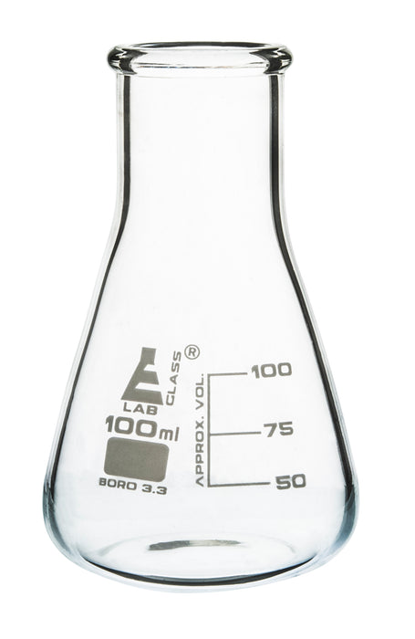 Erlenmeyer Flask, 100ml - Borosilicate Glass - Wide Neck, Conical Shape - White Graduations - Eisco Labs