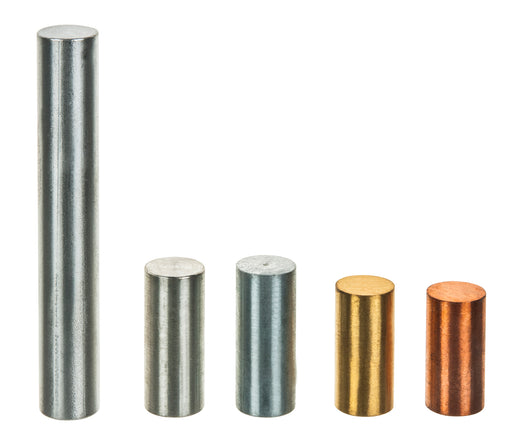 5pc Equal Mass Metal Cylinders Set - Zinc, Copper, Aluminum, Tin & Brass