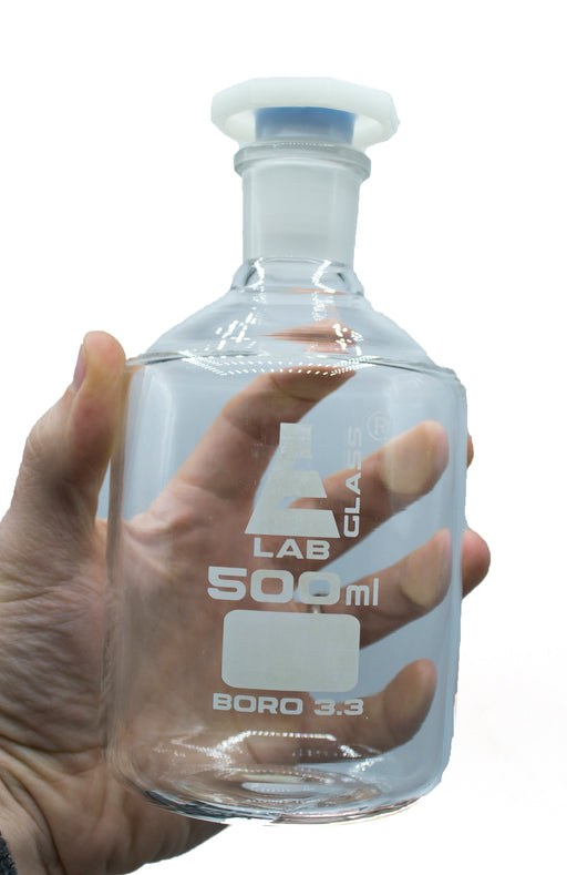 500mL (16.9oz) Glass Reagent Bottle with Acid Proof Polypropylene Stopper, Borosilicate 3.3 Glass - Eisco Labs
