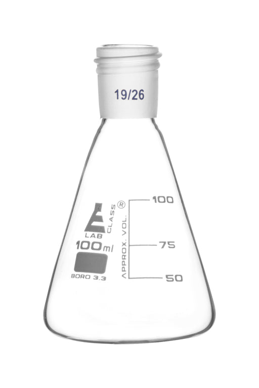 Erlenmeyer Flask with 19/26 Joint, 100ml Capacity, 25ml Graduations, Interchangeable Screw Thread Joint, Borosilicate Glass - Eisco Labs