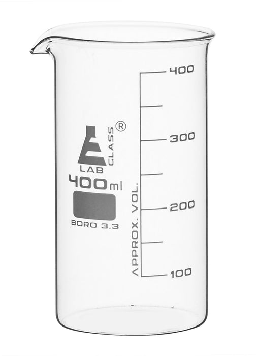 Beaker, 400ml - Tall Form - White Graduations - Borosilicate Glass