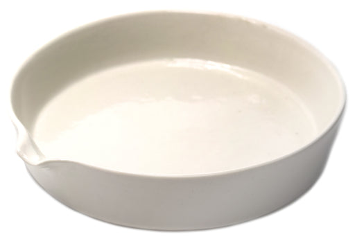 "Evaporating Basin - 6"" (150mm) dia. Porcelain, Flat bottom with Spout - Eisco Labs"