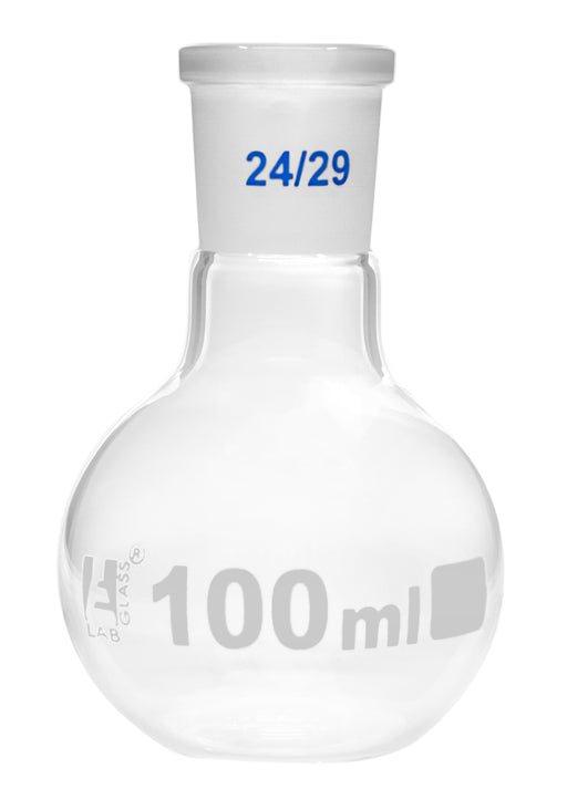 Florence Boiling Flask, 100ml - 24/29 Joint, Interchangeable - Borosilicate Glass - Flat Bottom, Short Neck - Eisco Labs