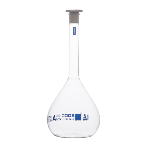 Volumetric Flask, 2000ml - Class A, ASTM - Polypropylene Stopper - Blue Graduation - Borosilicate Glass