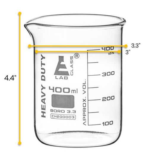 Heavy Duty Beaker, 400ml - 5mm Thick, Uniform Walls - Superior Durability & Chemical Resistance - White Graduations - Borosilicate 3.3 Glass - Eisco Labs