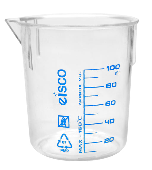 Beaker, 100ml, TPX Plastic, with Spout - Blue Graduations - Eisco Labs