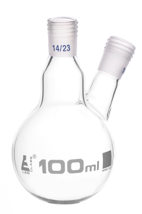 Distillation Flask with 2 Necks, 100ml Capacity, 14/23 Joint Size, Interchangeable Screw Thread Joints, Borosilicate Glass - Eisco Labs