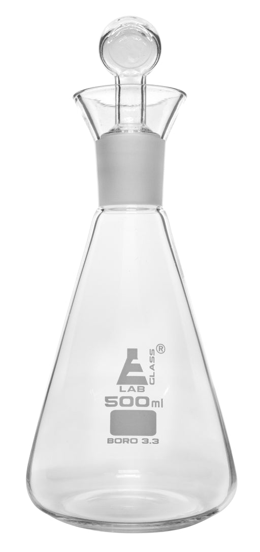 Iodine Flask & Stopper, 500ml - 29/32 Socket Size, Interchangeable Stopper - Conical Shape - Borosilicate Glass - Eisco Labs