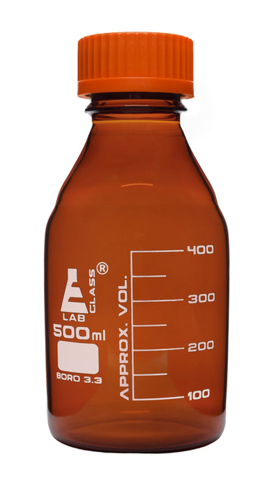 Reagent Bottle, 500ml - Amber Colored Glass - Orange Screw Cap - Borosilicate 3.3 Glass