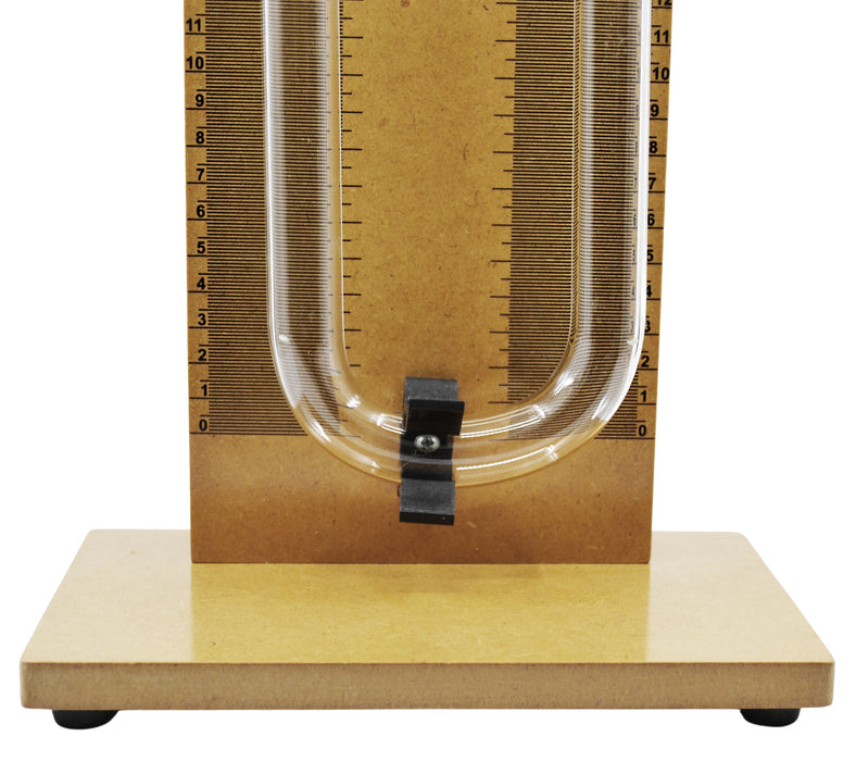 Demonstration Analog Manometer, 22.5 Inch - Used to Measure and Indicate Pressure of Liquids & Gases - Wood & Borosilicate 3.3 Glass - Eisco Labs