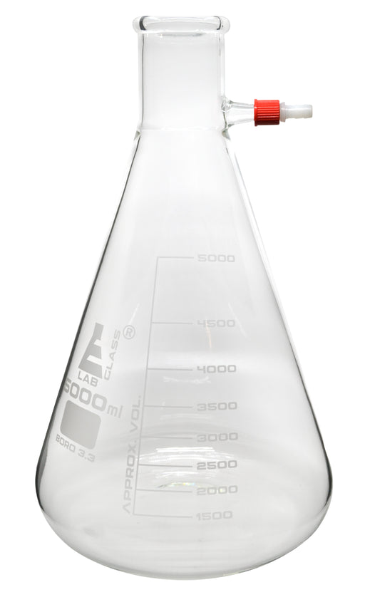 Filtering Flask, 5000ml - Borosilicate Glass - Conical Shape, with Integral Plastic Side Arm - White Graduations - Eisco Labs