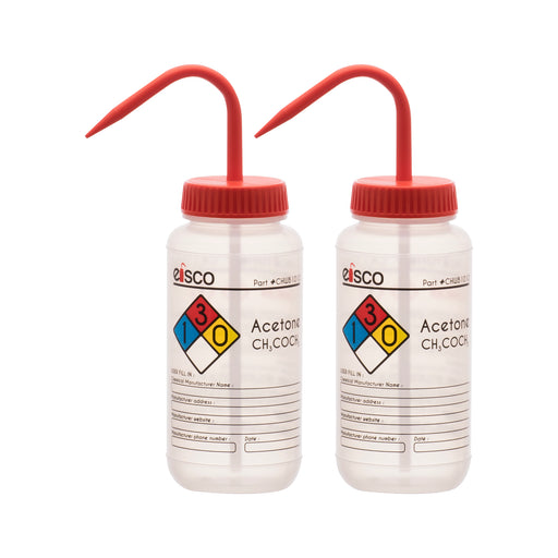 2PK Performance Plastic Wash Bottle, Acetone, 500 ml - Labeled (4 Color)