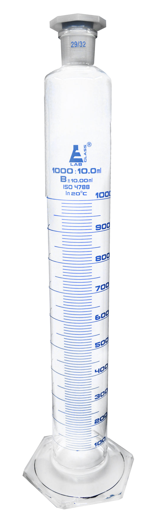 Measuring Cylinder, 1000ml - Class B - 29/32 Polypropylene Stopper - Hexagonal Base, Blue Graduations - Borosilicate Glass - Eisco Labs
