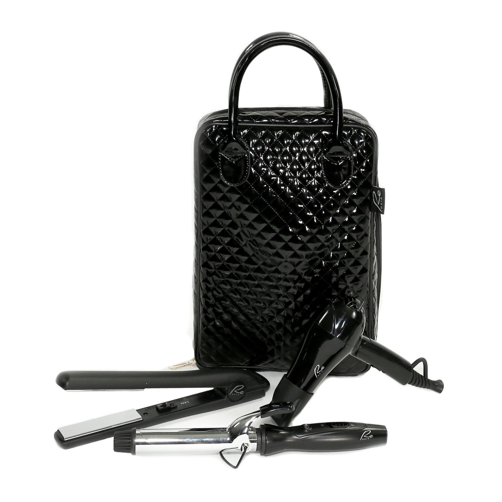 Hair Guru Fashionable Travel 5-Piece Hair Tool Kit with Luxury Carrying Bag Included