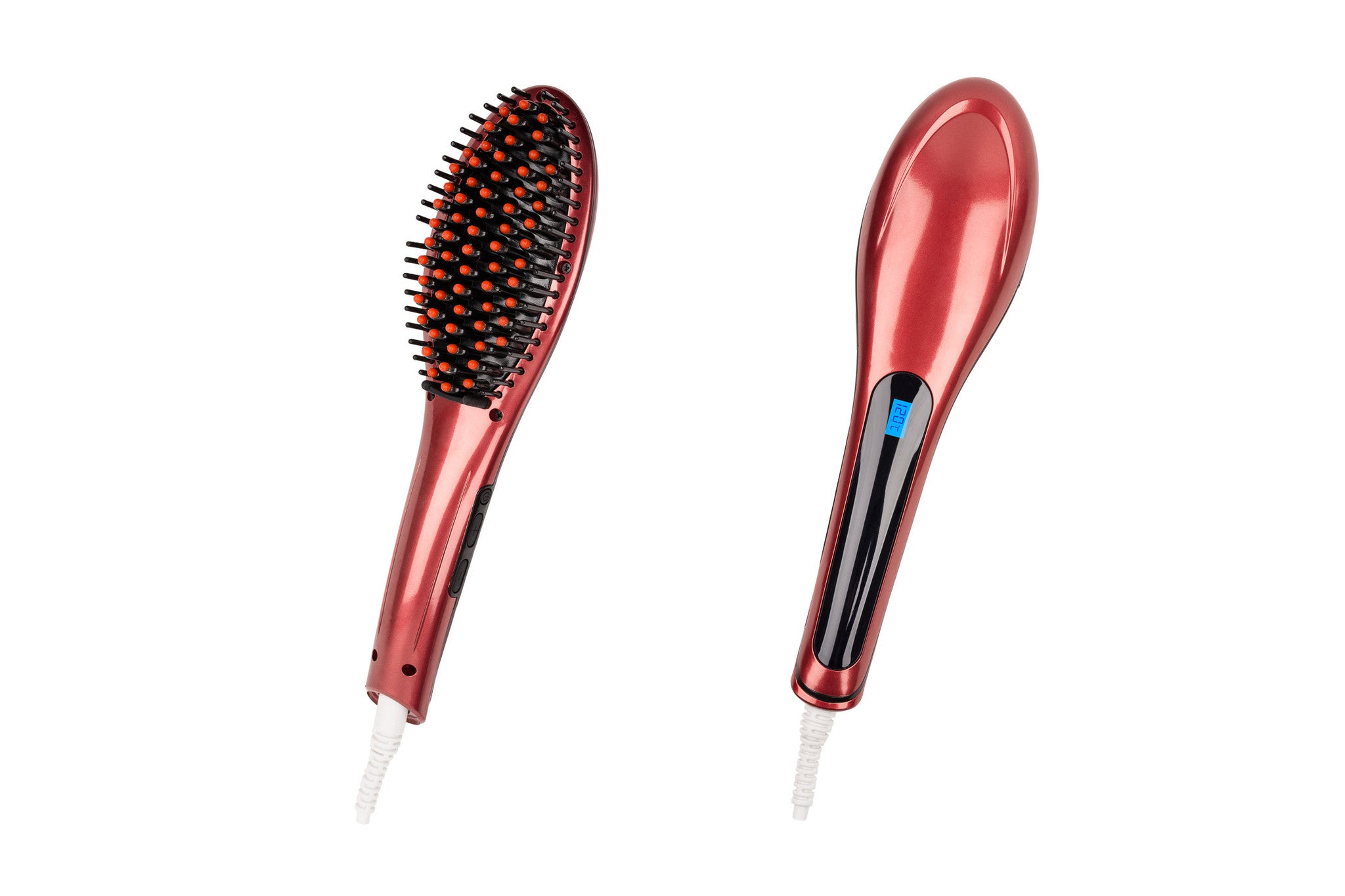 Hair Guru Straightening Anti-Frizz Styling Brush - Red