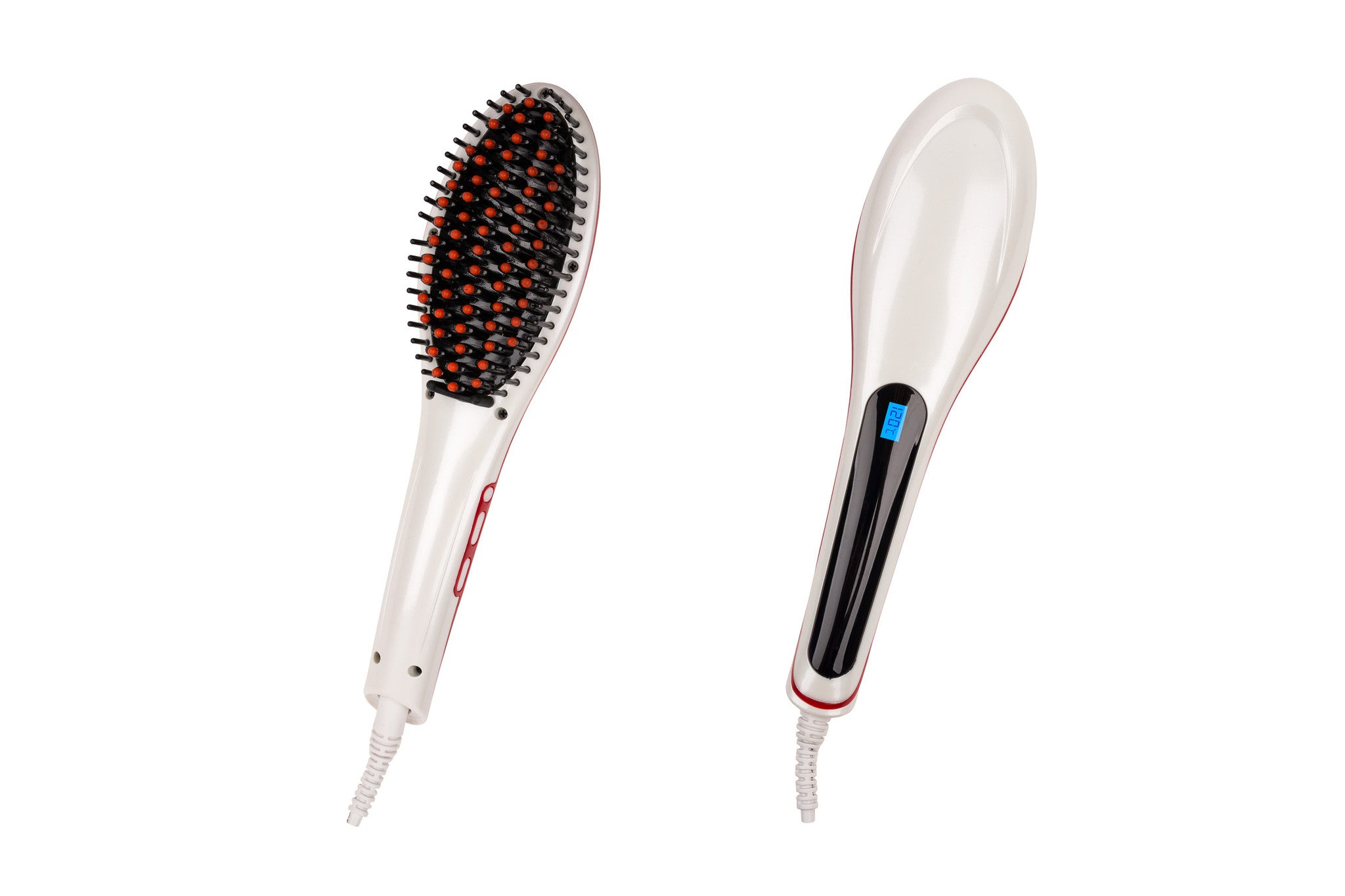 Hair Guru Straightening Anti-Frizz Styling Brush - White