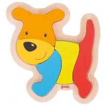 Goki - 5 Piece Wooden Dog Puzzle