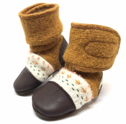 Nooks- Embroidered Felted Bootie- Golden Spruce