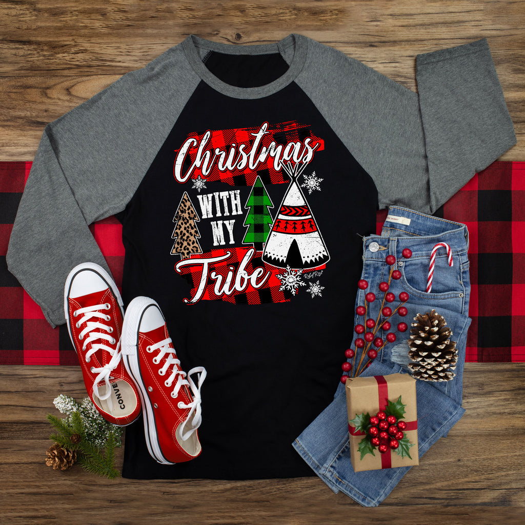 Christmas With My Tribe Raglan