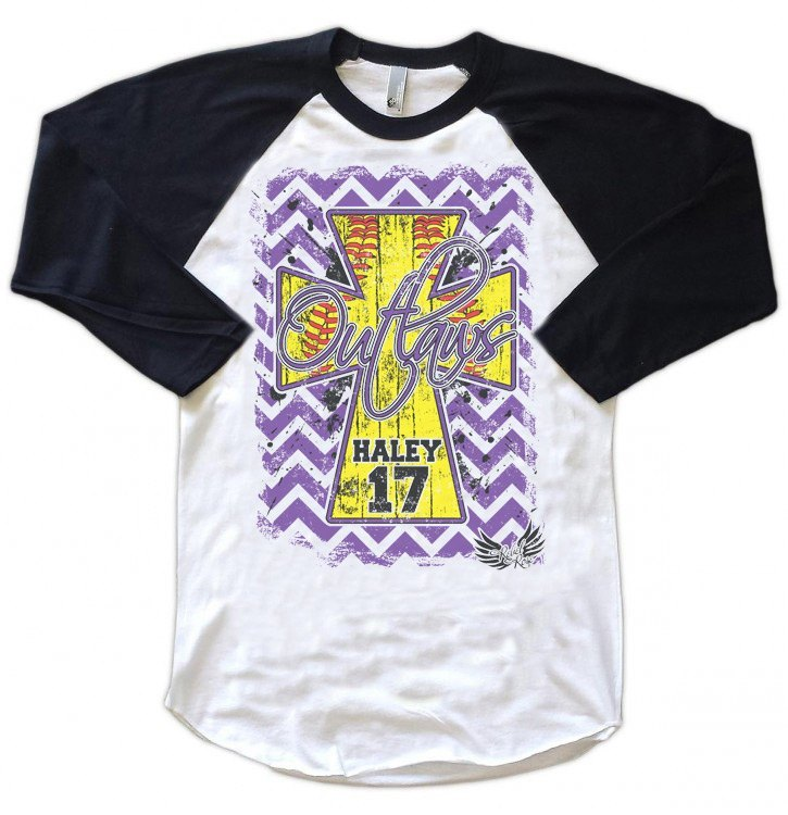 Raglans - Chevron Softball Cross