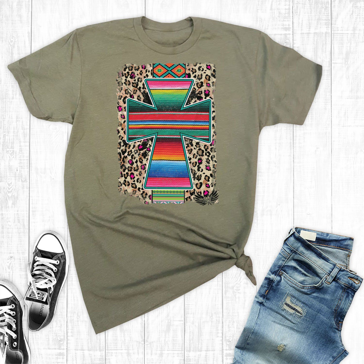 T-Shirts - Army Serape Aztec Cross