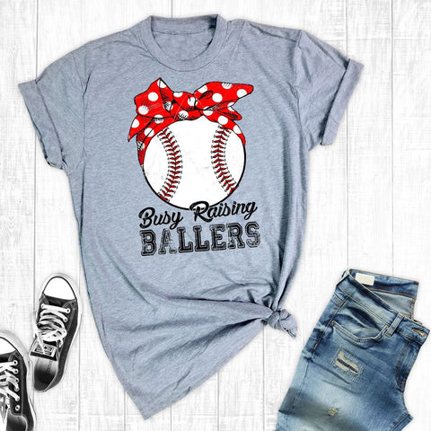 T-Shirts - Busy Raising Ballers Baseball