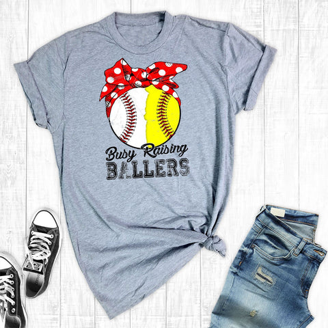 T-Shirts - Busy Raising Ballers Baseball/Softball