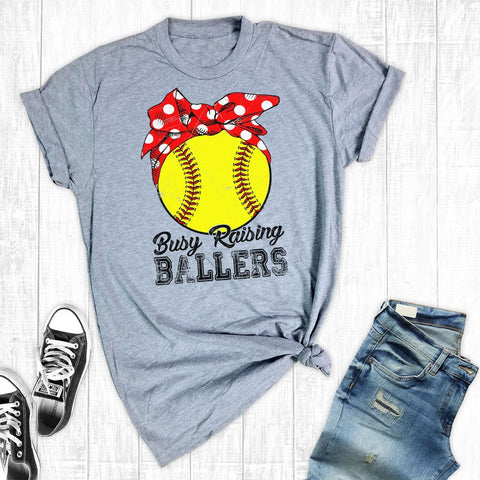T-Shirts - Busy Raising Ballers Softball