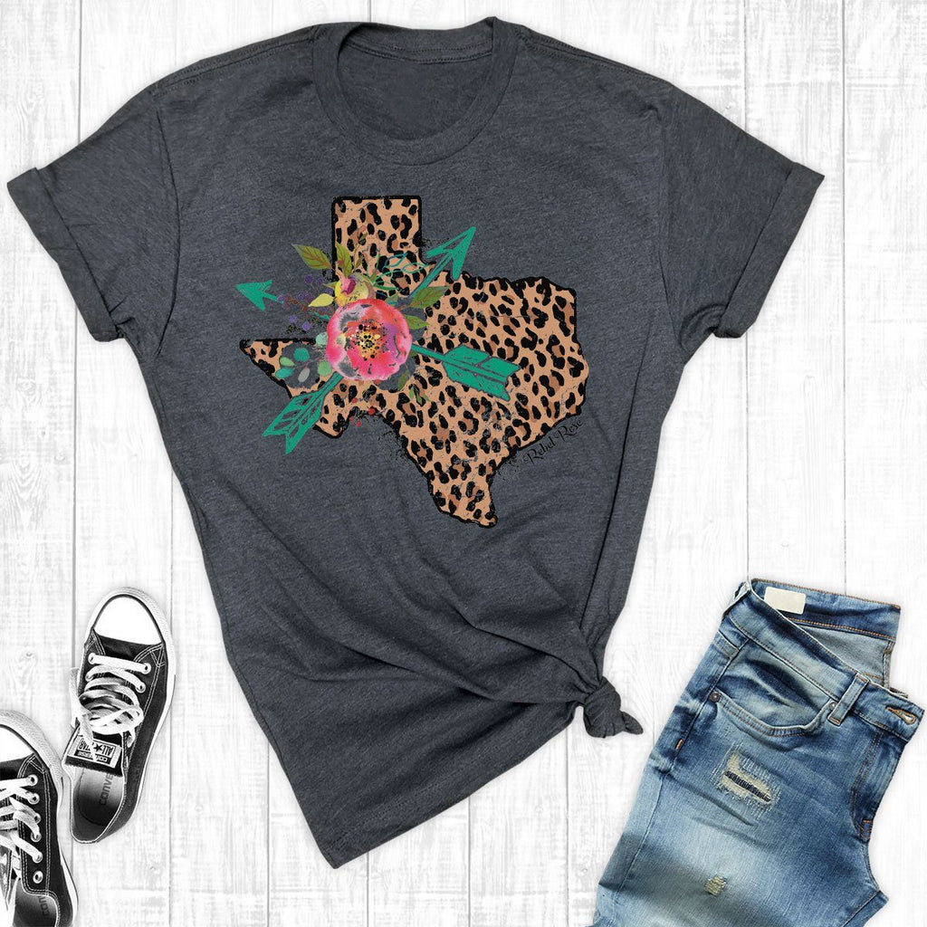T-Shirts - Charcoal Leopard Texas