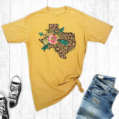 T-Shirts - Gold Leopard Texas